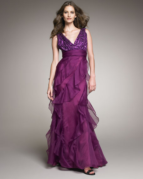 Sequin-Top Organza Gown