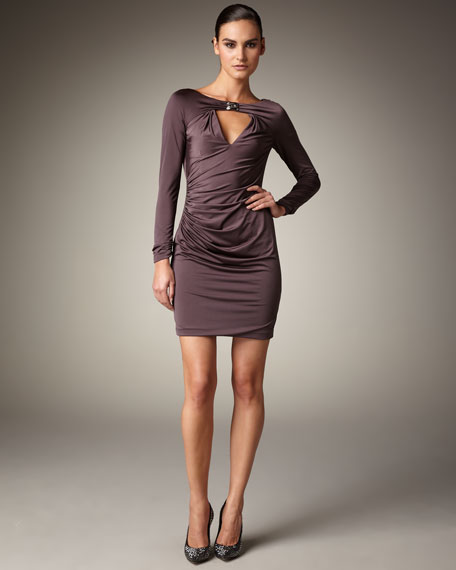 Keyhole Ruched Jersey Dress