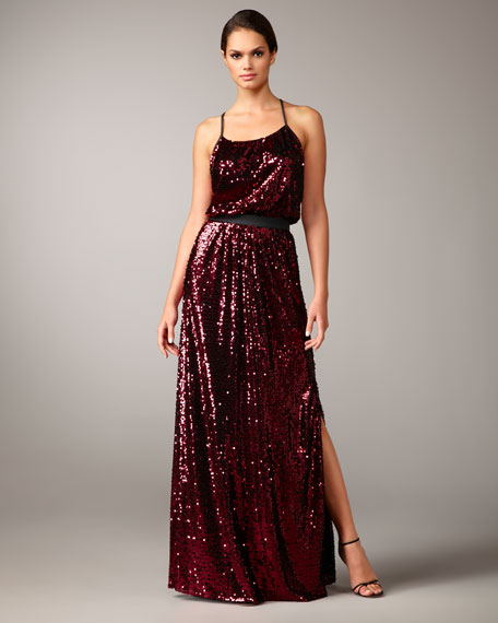 Racerback Sequined Gown