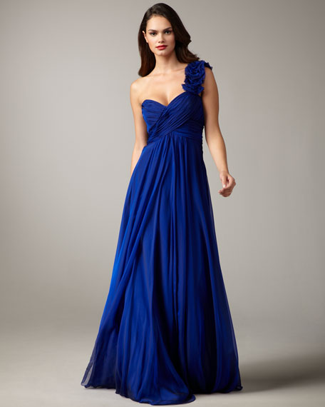 Rosette-Strap Chiffon Gown