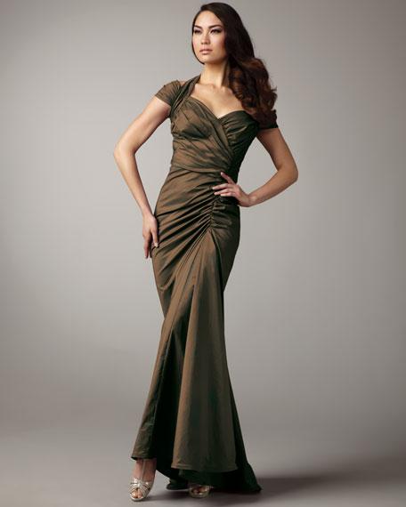 Cold-Shoulder Taffeta Gown