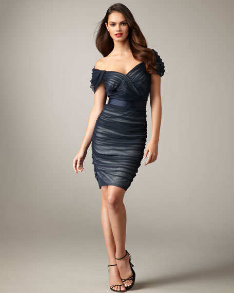 Ruched Tulle Belted Dress