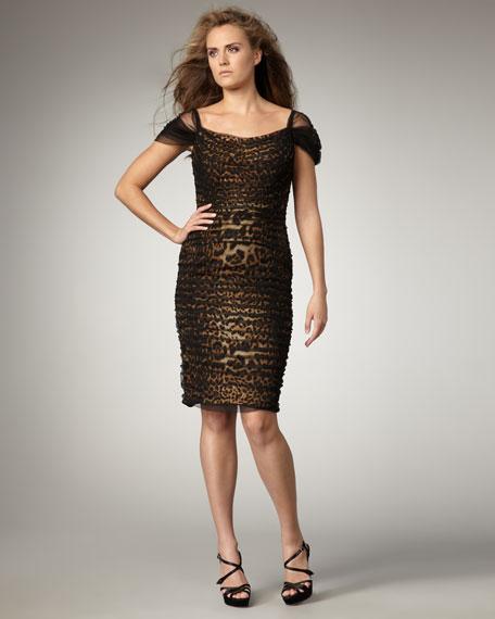 Tulle-Overlay Animal-Print Dress
