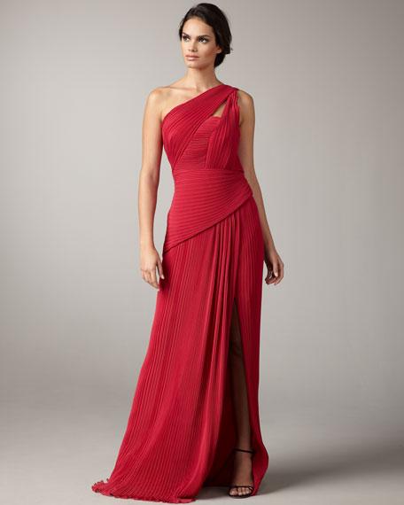 One-Shoulder Plisse Gown