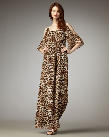 Cold-Shoulder Animal-Print Caftan