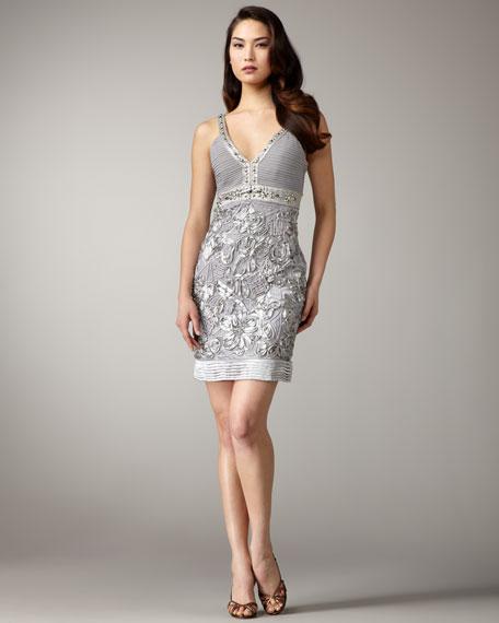 V-Neck Floral Applique Dress
