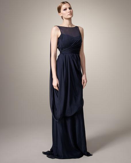 Draped Silk Grecian Gown