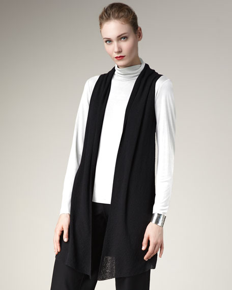 Washable-Wool Long Vest, Women's