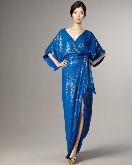 Judith Sequined Wrap Gown