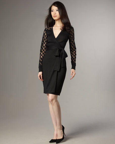 Linda Dot-Sleeve Wrap Dress