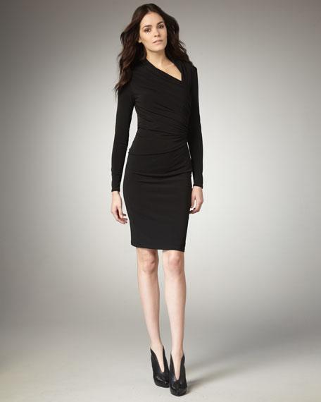 Asymmetric-Neck Jersey Dress