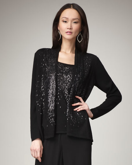 Feathered-Sequin Cardigan, Women's