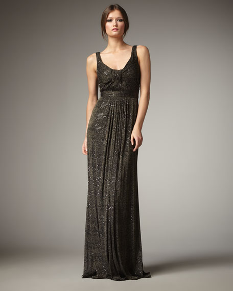 Scoop-Neck Sparkle Gown