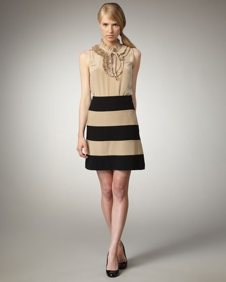 clemonce two-tone stripe skirt