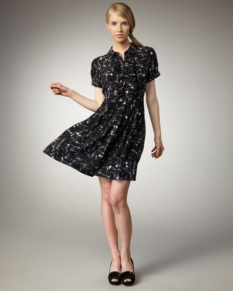 nellie scribble-print shirtdress