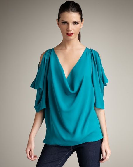 Cold-Shoulder Silk Blouse