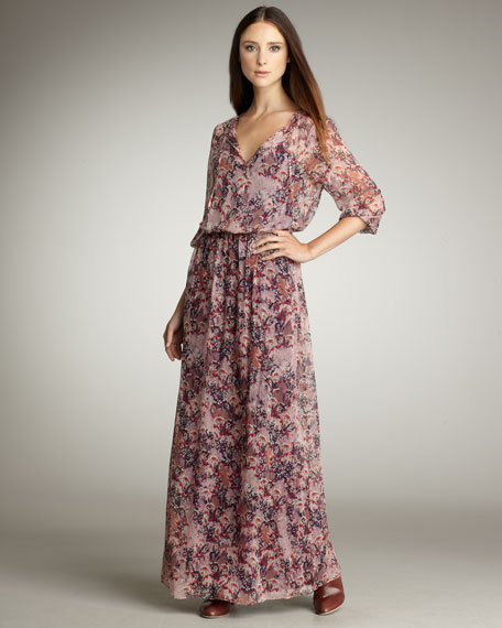 Autumn-Print Maxi Dress