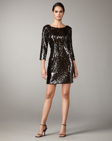 Two-Tone Sequin Shift Dress