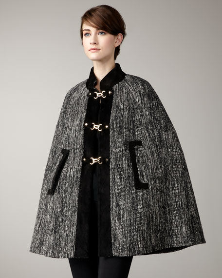 Belle Suede-Trim Tweed Cape