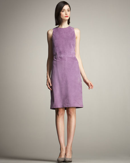 Lucia Sleeveless Suede Shift Dress