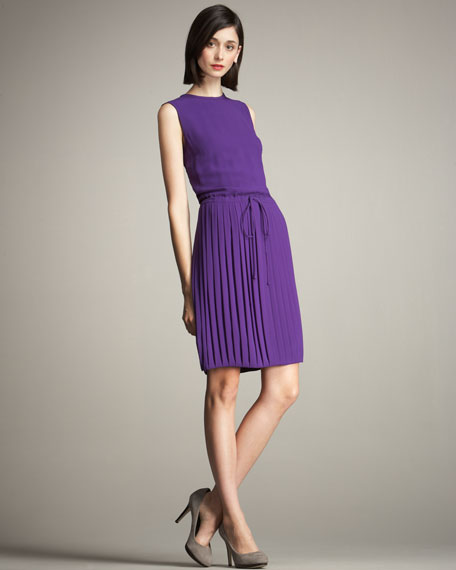 Pleated-Skirt Tea Dress