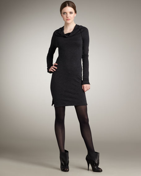 Cowl-Neck Sweatshirt Dress