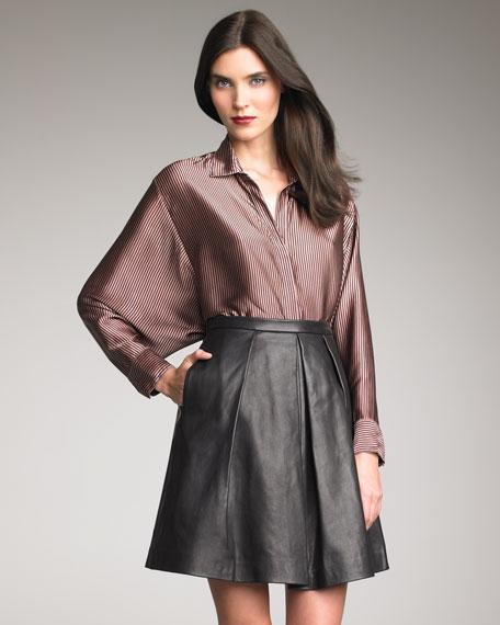 Julius Pleated Leather Skirt