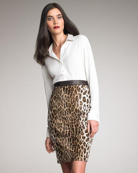 Leather-Trim Leopard Pencil Skirt
