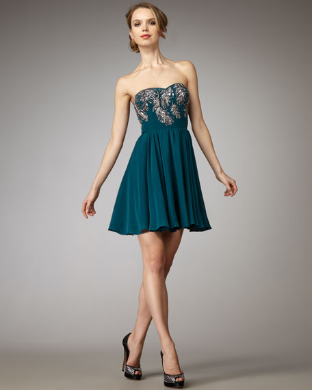 Beaded-Feather Party Dress