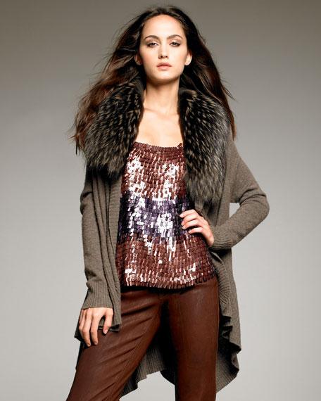 Colby Fur-Collar Cardigan