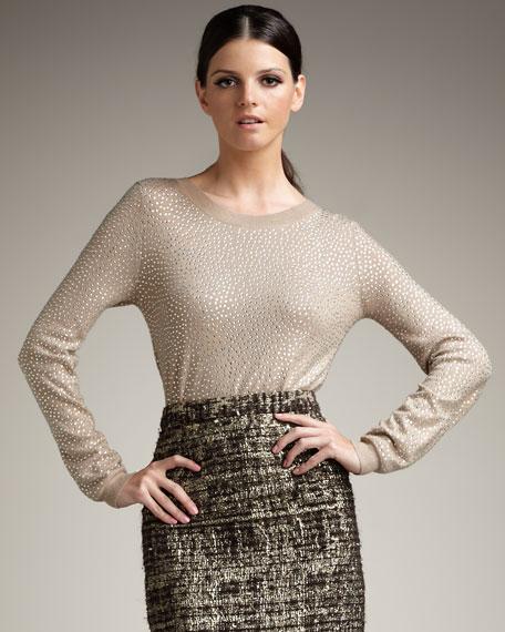 Crewneck Rhinestone Sweater