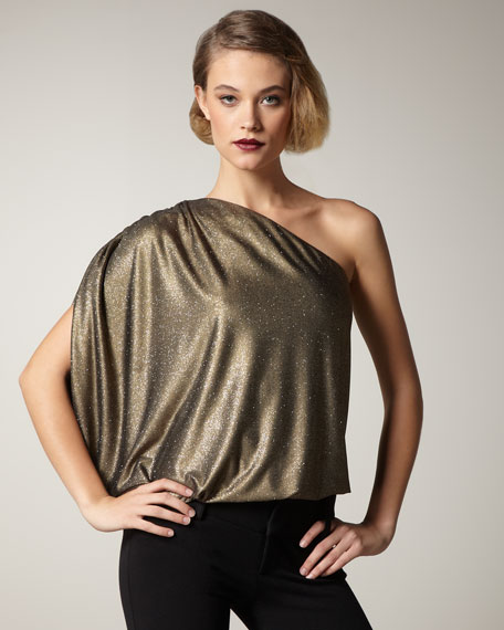 Hannah Glittery One-Shoulder Top
