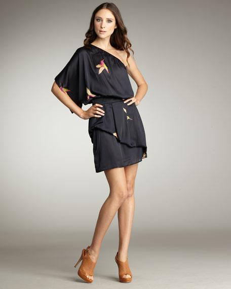 Bird-Print One-Shoulder Dress