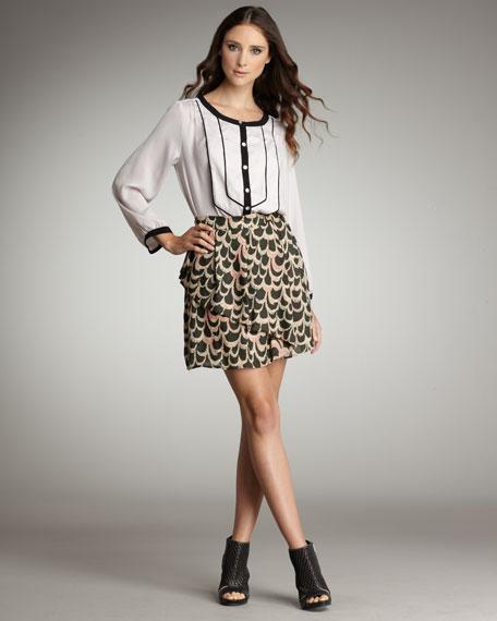 Scallop-Print Tiered Skirt