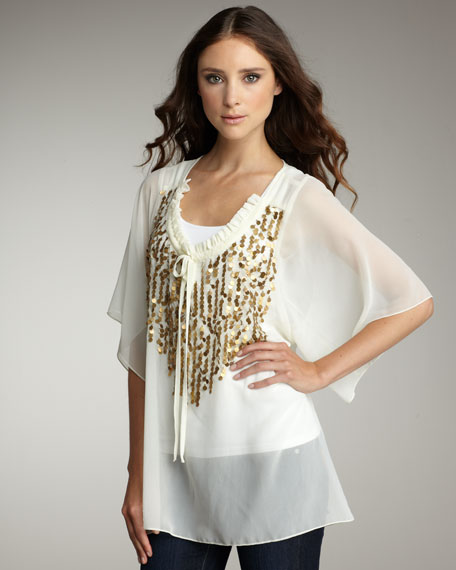 Sheer Sequined Blouse
