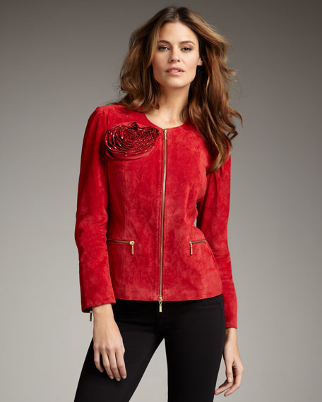 Studded-Rose Suede Jacket, Women's