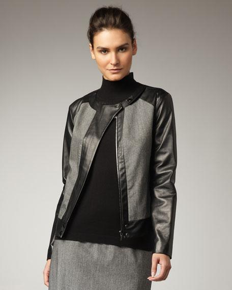 Leather-Sleeve Wool Jacket