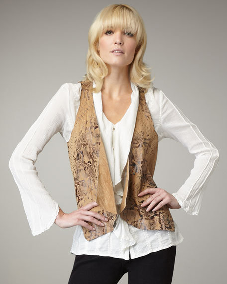 Printed Leather Vest, Women's
