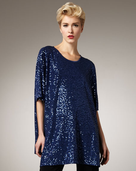 Stretch Sequined Tunic, Women's