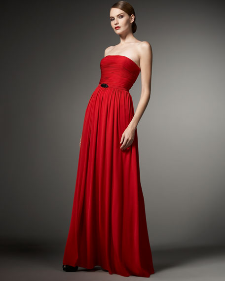 Ruched Strapless Chiffon Gown