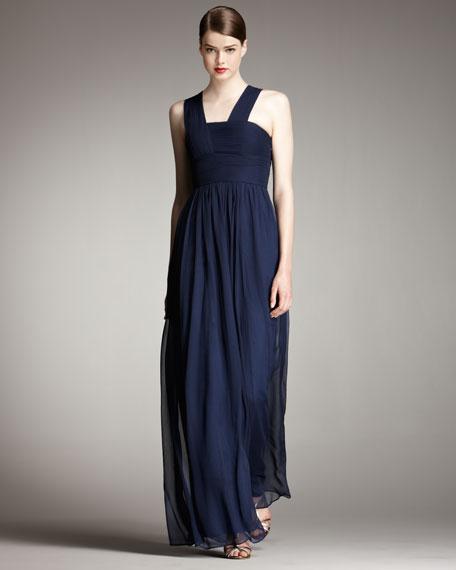 Plisse-Bodice Chiffon Gown