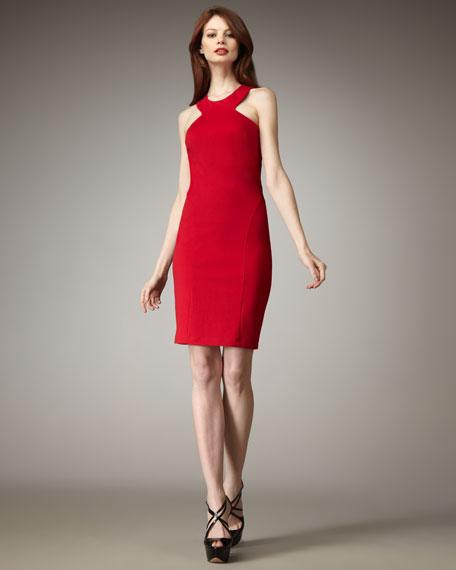 Heather Ponte Halter Dress