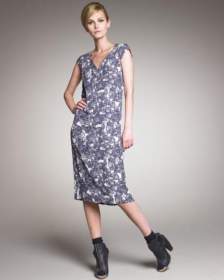 Rose-Print Crepe Dress