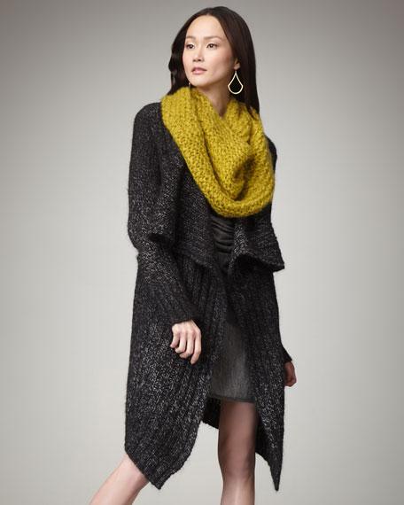 Metallic-Knit Cascade Cardigan, Petite