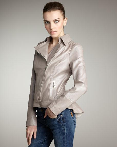 Pearlized Leather Jacket