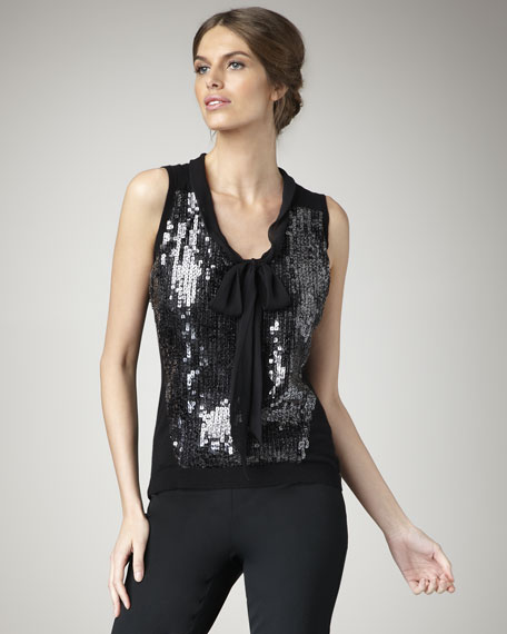 Sequined Bow-Front Blouse