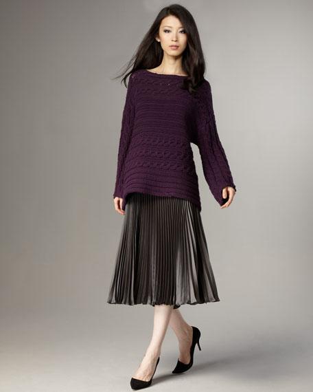 Mid-Calf Pleated Skirt