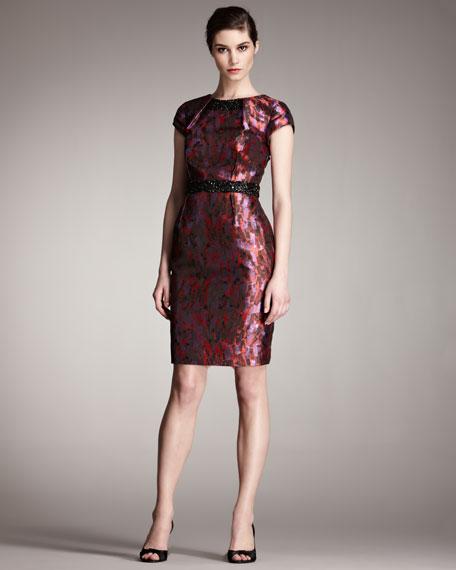 Beaded-Detail Jacquard Dress