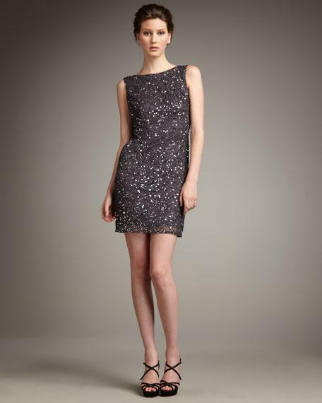 Bateau-Neck Sequin Shift Dress