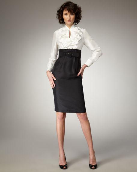 Ruffled Belted Dress